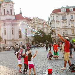 town bubble kids fun show walking town square city local travel real social UGC photography